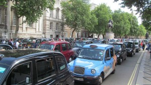 London anti-Uber taxi protest June 11 2014 by David Holt via Flickr